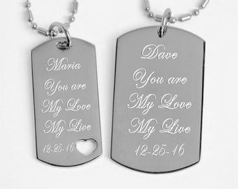 Couples Necklace, Dog Tag Necklaces, Silver His & Hers Dog Tag Necklace Set Engraved Free, Custom Dog Tag, Personalized Dog Tag, BFF Jewelry