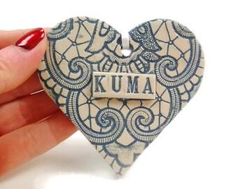 Kuma Heart Ornament, Godmother Ornament, Gift for Kuma, Baptism Gift, I Love Kuma, Serbian Godmother, Valentine Heart, Kuma Christmas,Srpska