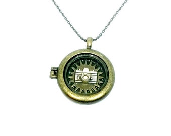 Camera Locket Watchcase With Sprocket Necklace Handmade Gift