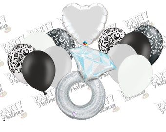 Engagement Party Balloon Cluster - Silver, Black and White