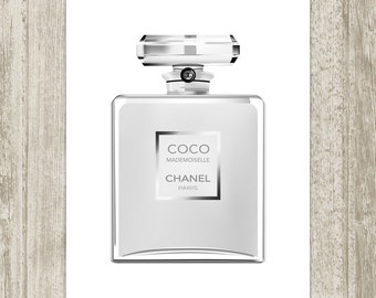 Coco Chanel Perfume Printable, Black White Fashion Print Vanity Wall Art, French Perfume Print, Modern Art 8x10 11x14 Instant Download