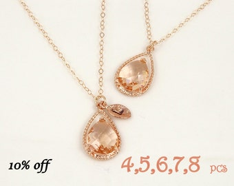 rose gold bridesmaid jewelry set of 4, 5, 6, 7, 8 wedding necklaces for bridesmaids thank you gifts maid of honor bridesmaid proposal gift