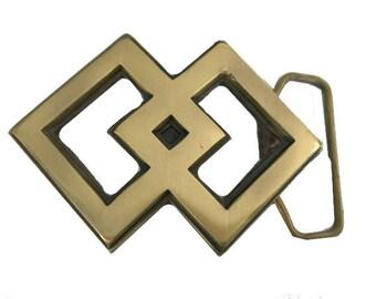 Vintage 1970s Solid Brass Belt Buckle - Diamond Design - Art - Large - Art Deco - Gift Idea for Her - Girlfriend - Mom - Retro - Hippie