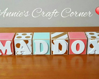Personalized Baby Name Blocks Coral, Mint and Gold Girl 2 x 2 Inch Wooden Letter Nursery Newborn-Maternity Belly Photo Shoot Prop- Pregnancy