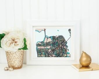 Abstract Map Print of San Francisco CA