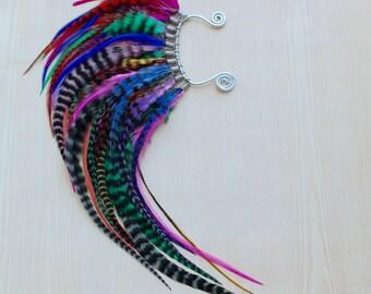 Extra Long Mohawk Rainbow Feather Ear Wrap  - One of a Kind Piece