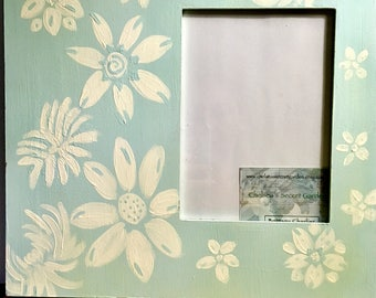 Carolina Blue Hand-Painted Frame with White Flowers