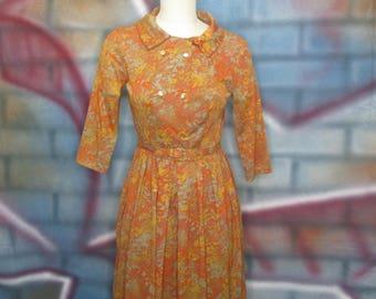 Vintage Ladies Shelton Stroller Orange Floral Dress