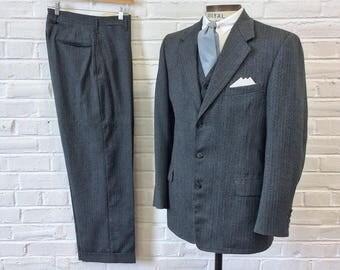 Vintage Men's 1950s Slate Gray Herringbone 3pc Suit. Size 36/38, 31x28