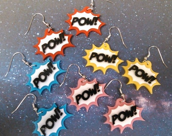 POW! Comic Book Action Bubble Dangle Earrings Red Pink Blue Yellow
