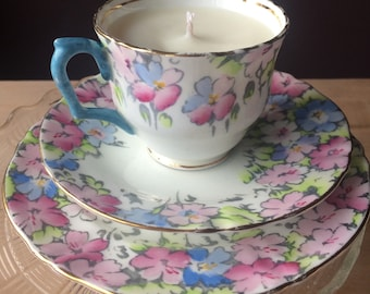 White and floral vintage Crown bone china teacup trio created as a Creme Brûlée-scented soy candle