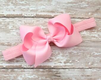 Large Bow Headband - Pink Baby Headband - Pink Bow Headband or Hair Bow - Toddler Headband