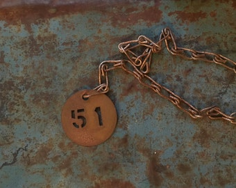 Vintage Brass numbers with chain