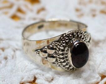 Garnet Gemstone Sterling Ring Size 9