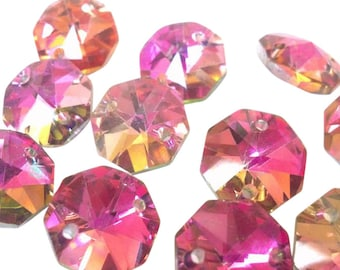 50 Metallic Rose Rainbow Chandelier Crystal Beads Octagon Shabby Chic Prisms 14mm