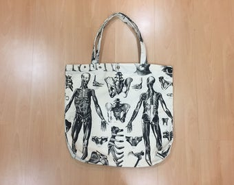 SALE!! Skeleton Bones Anatomy Illustration Canvas tote Bag Overprint Black white