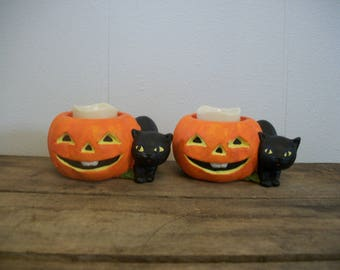 2 Vintage Ceramic Halloween  Pumpkin Jack O Lantern Black Cat Votive Candle Holders Colonial Candle Taiwan