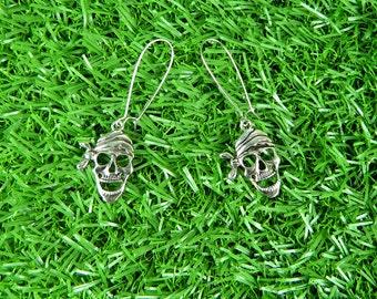 Long Drop Silver Pirate Skull Earrings