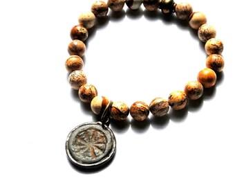 Thai Bhavacakra Wheel of Life Buddhist Bracelet with Desert Jasper Beads  / Amulet Talisman Bracelet / Yoga Bracelet / Bohemian Bracelet