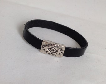 Handmade Black Genuine Leather Bracelet With Magnetic Clasp