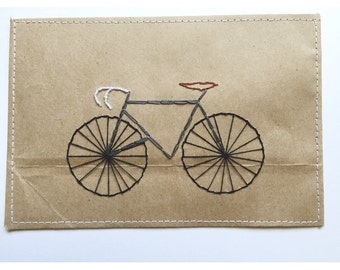 Bicycle Postcard | embroidered, embroidery, gift, card, thank you