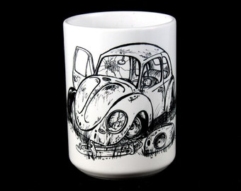 "The Rusty VW ""Dead Bug""  Bug, beetle, type 1, rusty, vw, volkswagen - Ceramic 15oz BIG coffee mug"