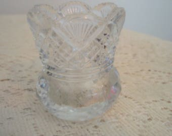 Lead Glass Vase, Crystal glass toothpick holder, miniature lead glass vase, single bud flower vase with ruffled top