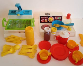 Vintage Fisher Price Kitchen Set with Sink, Stove, and Dishes / Toy Kitchen and Accesories