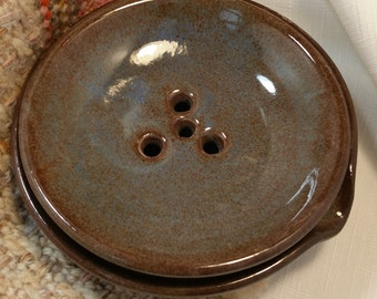 Brown/Blue 2 Piece Draining Soap Dish