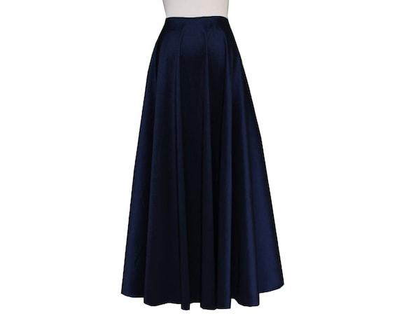 taffeta skirt navy blue floor length formal evening maxi