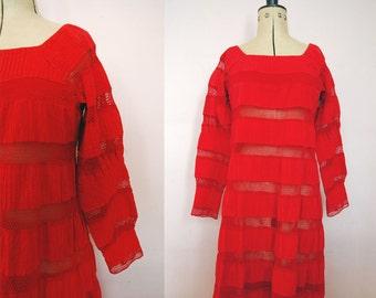 Vintage 1970s Red Mexican wedding dress - Mexican wedding dress - Crochet and Pintuck Bohemian Maxi Dress - Mexican dress - boho hippie