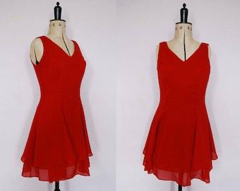 Vintage 1990s red skater dress - 90s skater dress - 90s red dress - 90s party dress - 90s mini dress - 90s dress - fit and flare dress