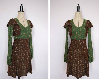 Vintage 1970s folk prairie boho mini dress  - 70s pinafore dress - 70s hippy dress - 70s ruffle dress - 70s floral cotton dress - bohemian