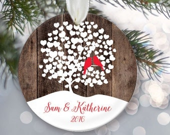 Love birds Christmas Ornament, Personalized Christmas Ornament Rustic faux/fake Wood Wedding Tree Ornament, Lovebirds, First Christmas OR010