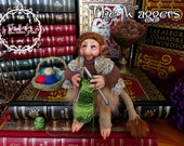 Faerie Creatures. The Waggers - House Wagger . Old female Wagger weaver. .Fantasy Art doll.