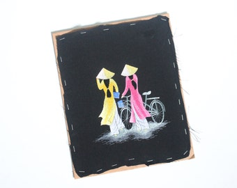 Vintage Colourful Asian Embroidery with Two Women and a Bike