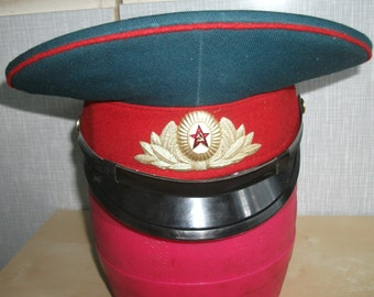 Summer visors Hat Red Army Soviet Officer forage cap parade with a badge red star Hammer and Sickle original CCCP Made in UssR 1980-90 ss
