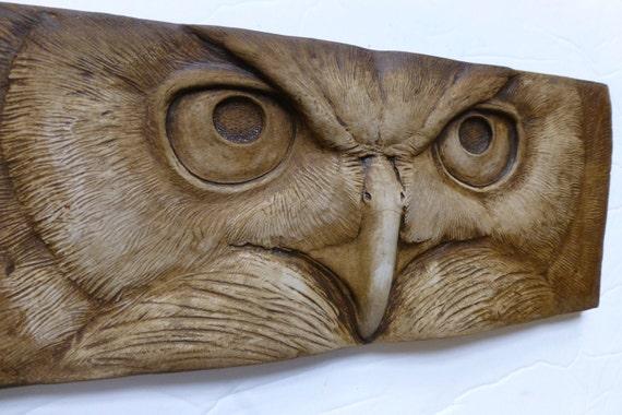 Concrete owl stare bas relief tile bird art garden statue
