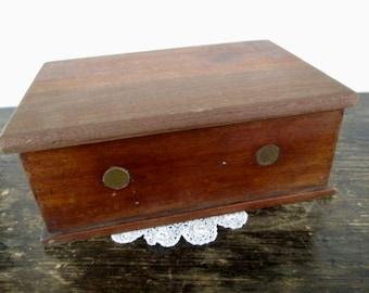 Vintage Handmade with genuine  Indian Pennies Inlaid Wood Box