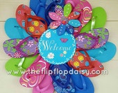Beautiful Welcome Flip Flop Wreath Unique Gift Beach Florida Colorful