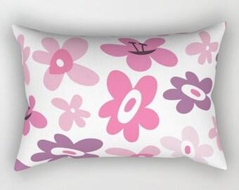 Girls Pillow, Rectangle Pillow, Pink Pillow, Purple Pillow, Purple Flowers, Pink Flowers, Flower Pillow, Floral Pillow Cover, Teen pillow,