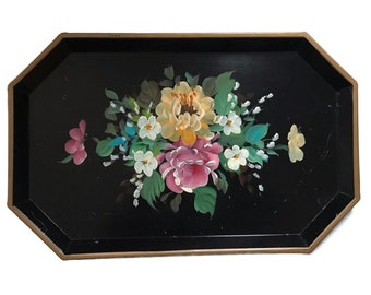 Vintage Tole Tray Hand Painted Metal Serving Tray with a Floral Design Toleware Black Pink Yellow Rectangular Shabby Chic