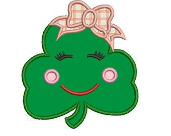 happy shamrock applique embroidery design