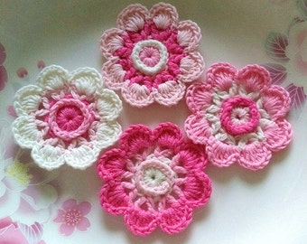 4 Crochet  Flowers In 2 inches  Applies YH - 228-05