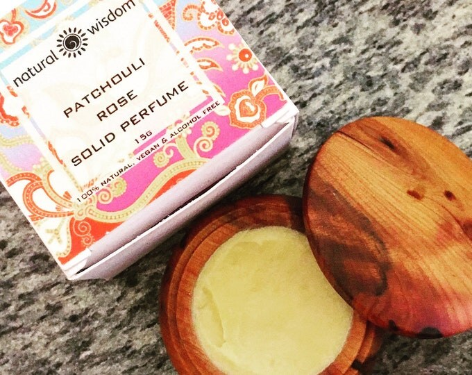 Patchouli Rose Solid Perfume by Natural Wisdom. Vegan. Alcohol and Gluten free. 100% natural.