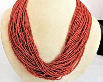 Vintage Multi Strand Tribal Bead Necklace