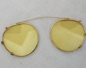 Vintage Yellow Lens Clip Ons