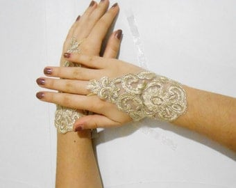 Gold Lace Wedding gloves fingerless lace gloves yellow gloves french lace bridal gloves