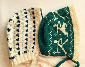 Charming Vintage Hand Knit Child Hats, Mittens, MCM Ski Wear, Warm Wool, Christmas Holiday Photo Props, Decor, Winter Lodge Still Life, Ski