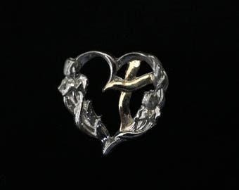 Silver Tone Floral Heart w/Gold Tone Cross Pin (ABX1C)